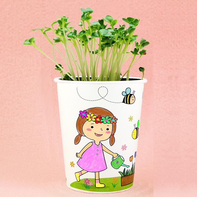 행복한 아이들 인쇄컵 식물키우기